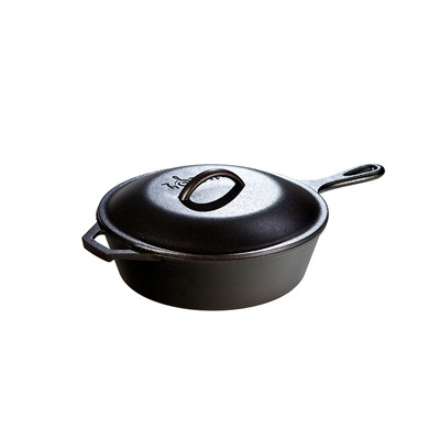 Lodge 3.2 Quart Cast Iron Covered Deep Skillet 10.25 inch