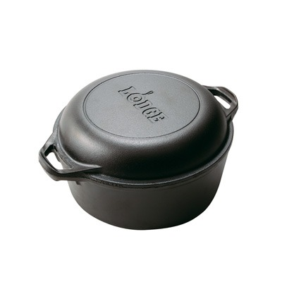 Lodge 5 Quart Cast Iron Double Dutch Oven